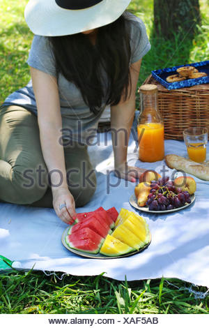 Young female enjoying outdoor picnic In the park.Woman sitting on the blanket and eating watermelon - Stock Photo