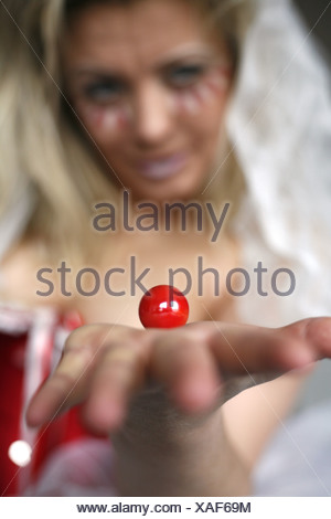 blond woman prepaired for carnival - Stock Photo