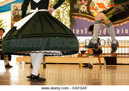Schuhplattler, traditional folk dancers, 83rd Loisachgaufest in Neufahrn near Egling, Upper Bavaria, Bavaria, Germany, Europe - Stock Photo