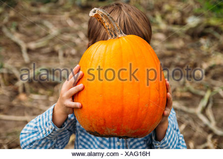 Boy holding a pumpkin in front of his face - Stock Photo