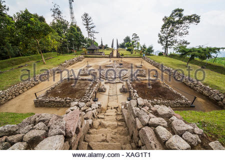Ceremonial platform at Candi Cetho, a Javanese-Hindu temple located on the western slope of Mount Lawu, Central Java, Indonesia - Stock Photo