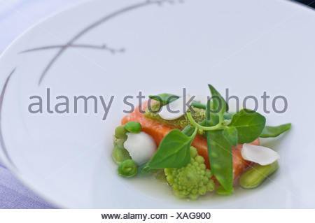 Close up of plate of fish and vegetables - Stock Photo
