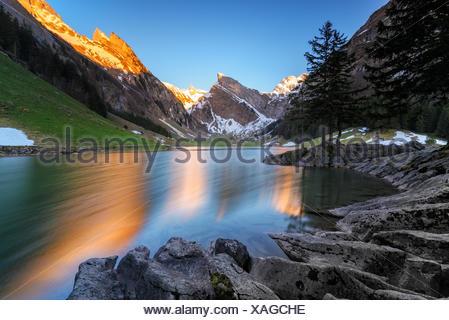 Seealpsee lake, Switzerland - Stock Photo