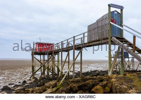 Traditional Fishing Cabin with Lift Net. Fouras, Charente-Maritime Department, Poitou-Charentes Region, France, Europe. - Stock Photo