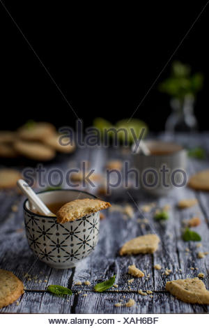 Deliciuos gluten free butter cookies with a nice melt-in-your-mouth sandy texture and a hint of oat flour, flavored with lime ze - Stock Photo