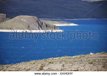 Chile, Patagonia, Torres-del-Paine-Nationalpark, Lago Sarmiento, shore, deposits, calcium carbonate, - Stock Photo