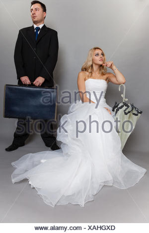 Bad relationship concept - married couple problem indifference depression and discord. Man woman in disagreement. retro style gray background - Stock Photo