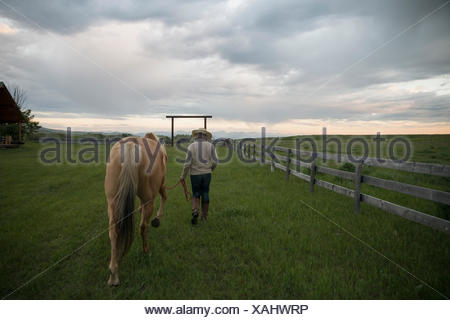 Female rancher walking horse in remote pasture - Stock Photo
