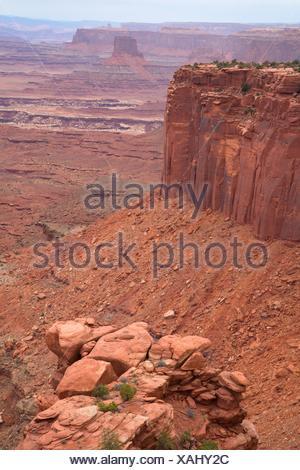Sandstone cliffs from Buck Creek Overlook, Canyonlands National Park, Utah. - Stock Photo