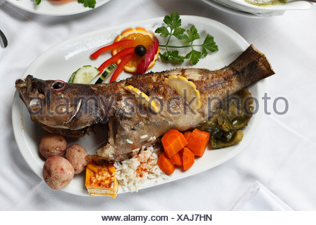 Cod with vegetables, Bernegal Restaurant, La Palma, Canary Islands, Spain, Europe - Stock Photo