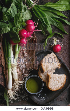 Rustic lunch breakfast with fresh young vegetables radish, spring onion, garlic leaves, salt, olive oil and bread on wooden bark over dark texture met - Stock Photo