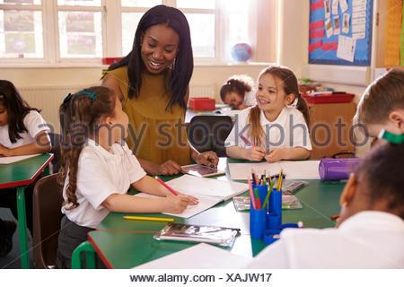 Female Elementary School Teacher Helping Pupils At Desk
