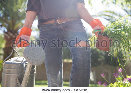 Woman carrying plant and watering can in garden - Stock Photo
