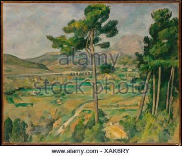 Mont Sainte-Victoire and the Viaduct of the Arc River Valley. Artist: Paul Cézanne (French, Aix-en-Provence 1839-1906 Aix-en-Provence); Date: - Stock Photo
