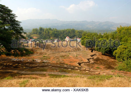 First Indochina war 1954, battlefield with trenches and a large bomb crater on the Mt A1, Dien Bien Phu, Vietnam, Southeast Asia - Stock Photo