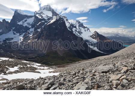 View of the snow-capped Cordilera Paine Grande mountain, French Valley, Torres del Paine National Park - Stock Photo