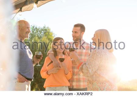 Family talking and drinking wine on sunny patio - Stock Photo