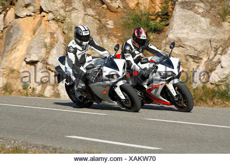 Two Yamaha YZF R1 motorcycles - Stock Photo