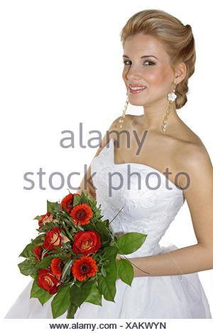 Braut, Hochzeit, Glueck, Gluecklich, Heirat, Heiraten, Brautkleid, Strauss Brautstrauss, Hochzeitsstrauss, Blumen, Romantik (Mod - Stock Photo
