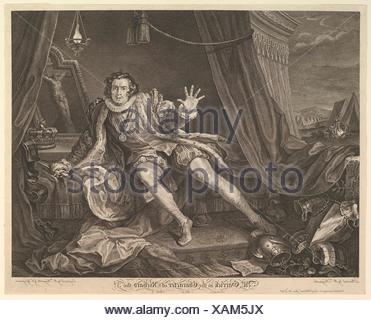 Mr. Garrick in the Character of Richard III. Artist and engraver: William Hogarth (British, London 1697-1764 London); Engraver: Charles Grignion, I - Stock Photo