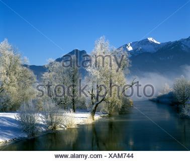 Lake Kochelsee below Mt. Heimgarten, Upper Bavaria, Germany, Europe - Stock Photo