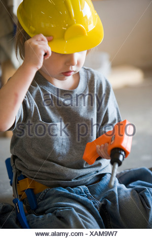 Little Boy 3 Years With Toy Hard Hat Stock Photo 228700358 Alamy
