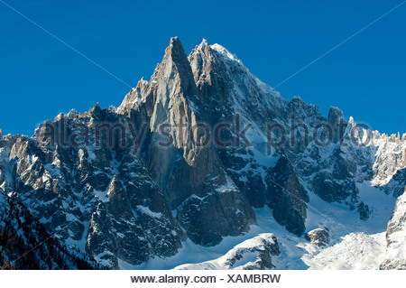 Aiguille Verte peak and Les Druze in winter, Chamonix, Haute Savoie, France, Europe - Stock Photo