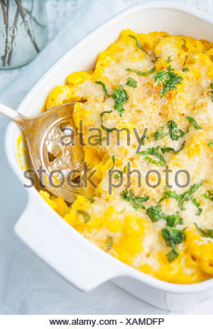 A Close Up of Baked Butternut Macaroni and Cheese - Stock Photo