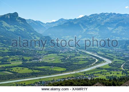 Rhine valley near Balzers,Liechtenstein - Stock Photo