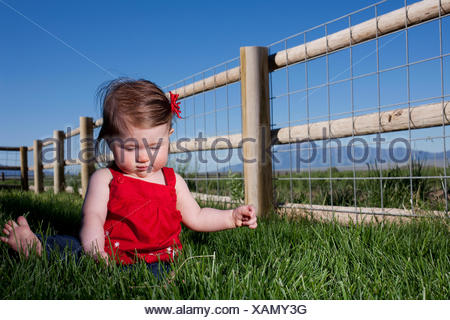 Portrait of cute female toddler sitting on grass - Stock Photo