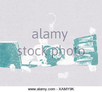 Tired overworked woman slumped sleeping in front of laptop computer - Stock Photo