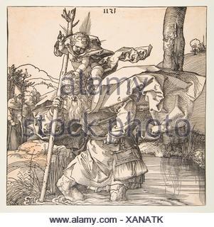 Saint Christopher. Artist: Albrecht Dürer (German, Nuremberg 1471-1528 Nuremberg); Date: 1511; Medium: Woodcut; Dimensions: sheet: 8 3/8 x 8 3/8 in. - Stock Photo