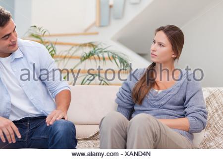 Couple talking seriously - Stock Photo