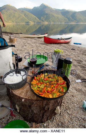 Canoeing and camping on the north arm of Murtle Lake. Wells Gray Provincial Park. Blue River, British Columbia. Canada - Stock Photo
