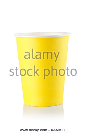 Yellow disposable cup isolated on a white background. - Stock Photo