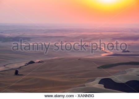 Sunset above the Palouse, Washington State, USA. - Stock Photo