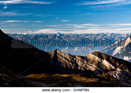 View from Margelkopf Mountain to the Grisons in Switzerland, Europe - Stock Photo