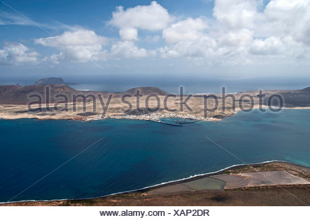 View of La Graciosa, seen from Mirador del Rio, Lanzarote, Spain, bird's eye view - Stock Photo