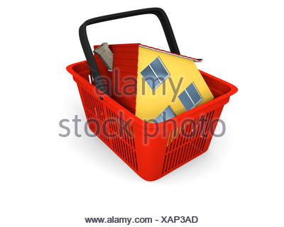 Model of house in shopping basket - Stock Photo