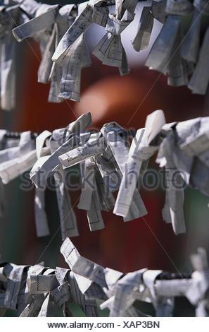 Japan, Honshu, Hiroshima, Toshogu  Schrein, Detail, Glückszettel  außen,  Shrine, Lebensart, japanisch, Kultur, Glücksbringer, Wünsche - Stock Photo
