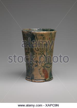 Tumbler. Designer: Henry Chapman Mercer (1856-1930); Manufacturer: Moravian Pottery and Tile Works (founded in 1899); Date: ca. 1879; Geography: Made - Stock Photo