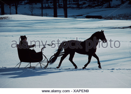 A horse-drawn sleigh ride at twilight in a snowy landscape. - Stock Photo