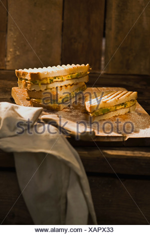 Zucchini omelet sandwich - Stock Photo