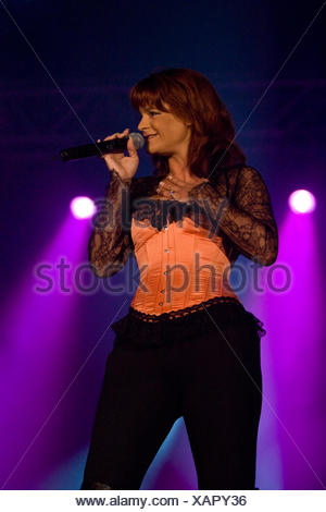 German pop singer Andrea Berg live in the Sursee civic hall, Sursee, Switzerland - Stock Photo