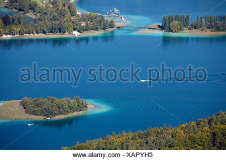 View from Pyramidenkogel to Woerthersee lake, Poertschach Landspitz, Carinthia, Austria - Stock Photo