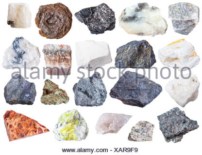 collection of natural mineral specimens - Stock Photo