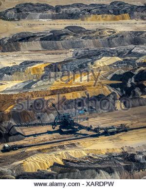 Bucket-wheel excavator, lignite mining, Inden, Jülich, North Rhine-Westphalia, Germany - Stock Photo