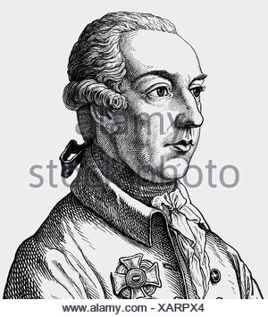 Joseph II, 13.3.1741 - 20.2.1790, Holy Roman Emperor 18.8.1765 - 20.2.1790, portrait, copper engraving, 19th century, , Artist's Copyright has not to be cleared - Stock Photo