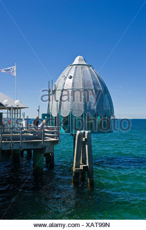 Pier with a diving gondola, Groemitz, Baltic Sea, Schleswig-Holstein, Germany, Europe - Stock Photo