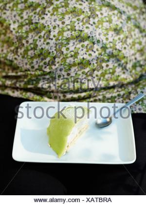 A princess g'teau on a plate, Sweden. - Stock Photo